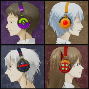 Eva Characters in Headphones