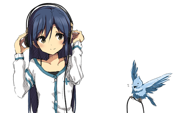 Kisaragi Chihaya, headphones and a blue bird