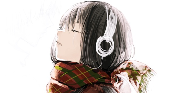 girl in scarf with headphones