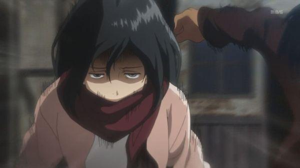 Shingeki no Kyojin 01 - Mikasa is scary